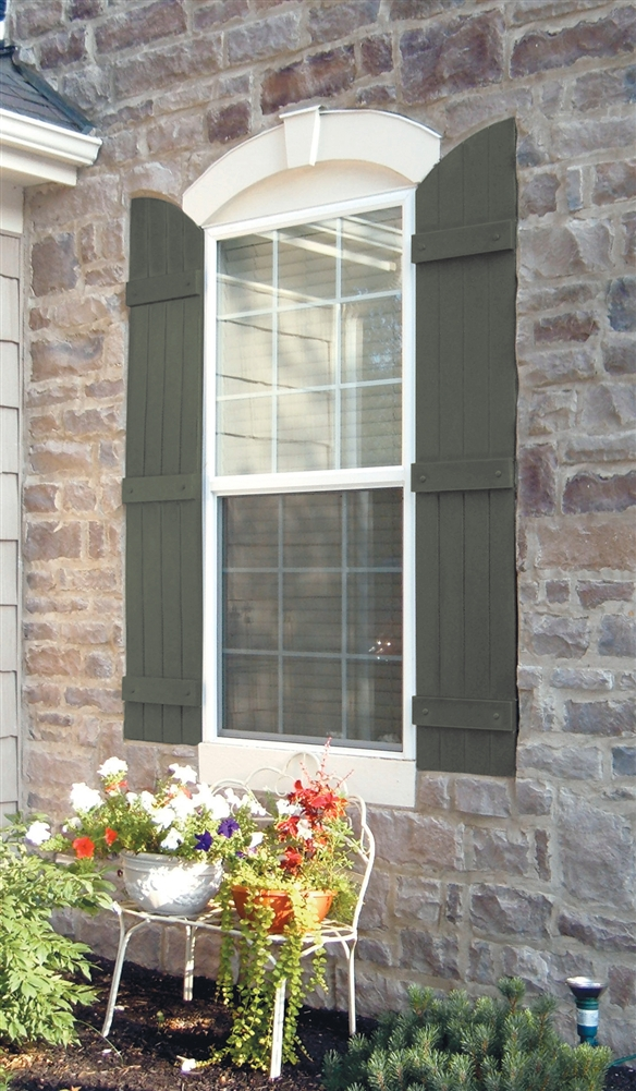 14 x 57 001 White Mid-America Board-N-Batten 14 4 Board Joined with Arch Top Vinyl Standard Shutter 1 Pair