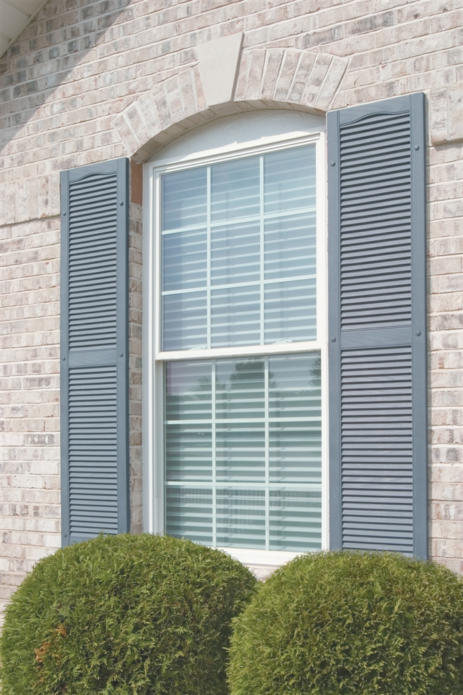 Superbe Mid America Cathedral Top Open Louver Master Vinyl Shutters ...