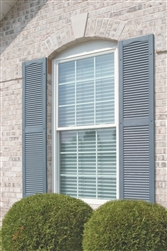 Per Pair Open Louver Shutter Bright White Mid America 00011464117 Standard Size Cathedral Top Center Mullion 14 1//2W x 64H