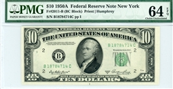 2011-B (BC Block), $10 Federal Reserve Note New York, 1950A