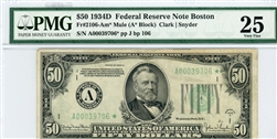 2106-Am* Mule, $50 Federal Reserve Note Boston, 1934D