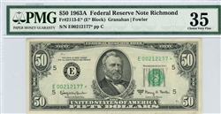 2113-E*, $50 Federal Reserve Note Richmond, 1963A
