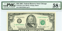 2122-G, $50 Federal Reserve Note Chicago, 1985
