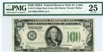 2151-Hdgs Dark Green, $100 Federal Reserve Note St. Louis, 1928A