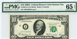 2019-J (JA Block), $10 Federal Reserve Note Kansas City, 1969A