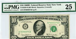 2020-B (BD Block), $10 Federal Reserve Note New York, 1969B