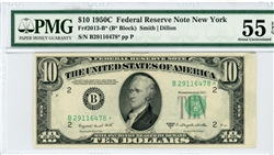 2013-B* (B* Block), $10 Federal Reserve Note New York, 1950C