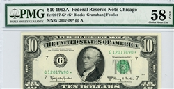 2017-G* (G* Block), $10 Federal Reserve Note Chicago, 1963A