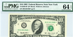 2030-B* (B* Block), $10 Federal Reserve Note New York, 1993