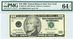 2034-B* (BB* Block), $10 Federal Reserve Note New York, 1999