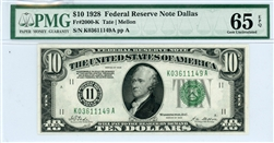 2000-K, $10 Federal Reserve Note Dallas, 1928