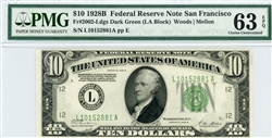 2002-Ldgs Dark Green (LA Block), $10 Federal Reserve Note San Francisco, 1928B