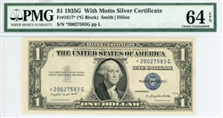 1617* (*G Block), $1 With Motto Silver Certificate, 1935G