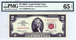 1514 (AA Block), $2 Legal Tender Note, 1963A