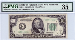 2104-E (EA Block), $50 Federal Reserve Note Richmond, 1934B