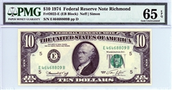2022-E (EB Block), $10 Federal Reserve Note Richmond, 1974