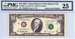 2032-J (JA Block), $10 Federal Reserve Note Kansas City, 1995