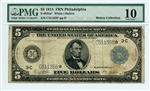 855a*, $5 Federal Reserve Note Philadelphia, 1914