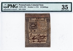 PA-167, 10 Shillings Pennsylvania Colonial Note, Oct. 1, 1773