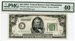 2101-Cdgs Dark Green (CA Block), $50 Federal Reserve Note Philadelphia, 1928A