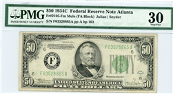 2105-Fm Mule, $50 Federal Reserve Note Atlanta, 1934C