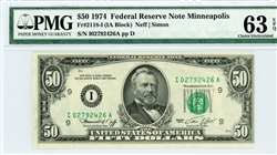 2118-I, $50 Federal Reserve Note Minneapolis, 1974