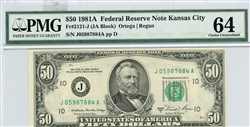 2121-J, $50 Federal Reserve Note Kansas City, 1981A