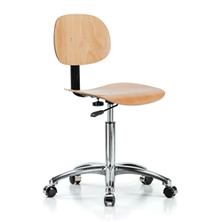 Perch Wood Pneumatic Chair in Chrome