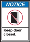 Notice Label KeepDoorClosed