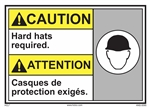 Caution Label Hard Hats Required
