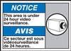 Notice Label Under 24 Hour Video Surveillance