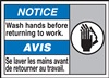 Notice Label Wash Hands Before Returning