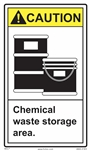 Caution Sign Chemical Waste Storage Area
