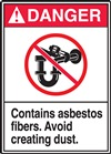 Danger Label Contains Asbestos Fibers