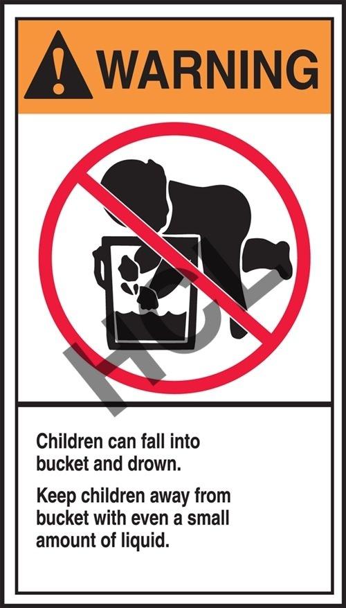 warning label children can fall into bucket and drown hcl labels