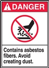 Danger Label Contains Asbestos Fiber