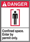 Danger Label Confined Space Enter By Permit