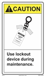 Caution Label Use Lockout Device