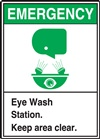 Emergency Sign Eye Wash Station Here