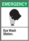 Emergency Label Eye Wash Station Present