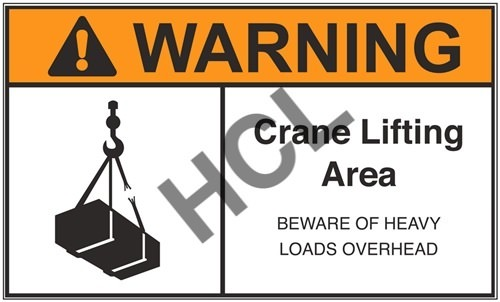 Warning Label - Crane Lifting Area   HCL Labels