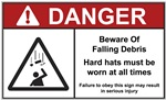 Danger Label Beware of Falling Debris