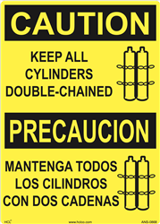Caution Label Bilingual Keep All Cylinders Double-Chained