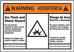 Warning - Arc Flash And Shock Hazard (Spanish/English) Sign