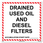 Drained Used Oil And Diesel Filters Label