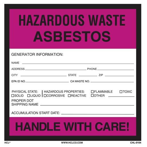 Asbestos Hazardous Waste Label