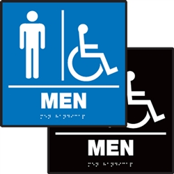 ADA Compliant Restroom Square Sign - Men's Handicap Symbol