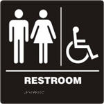 ADA Compliant Restroom Sign - Men's/Women's Handicap Symbol