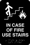 ADA Door Sign - In Case of Fire Use Stairs Symbol