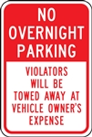 Parking Signs - No Overnight Parking